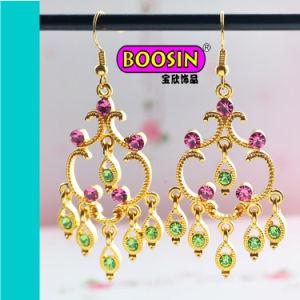18k Handmade Gold Plated Crystal Hook Earring per Wedding Designs