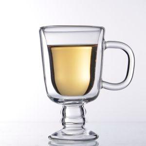 جدار [إيريش] [هندمد] مزدوجة زجاجيّة فنجان قهوة مع مقبض