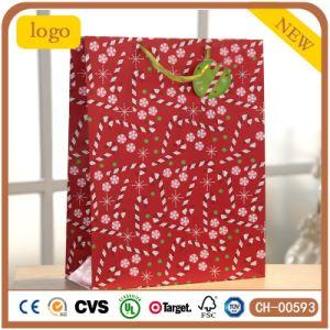 빨간 패턴 광택지 크리스마스 선물 종이 봉지