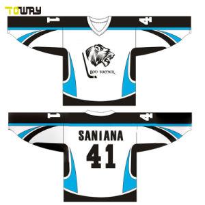 String negro de cuello de encaje Camiseta Portero de Hockey sobre Hielo