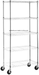 Mobile 5 capas de alambre cromado de la unidad de rack estanterías metal pesado estantes ajustables