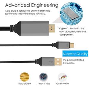 力の充電器のコードが付いているHDMI 4KのコンバーターへのUSB3.1タイプC