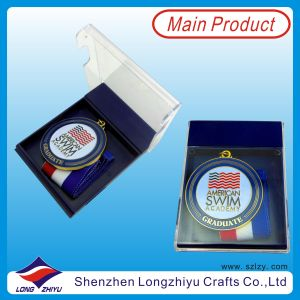 Swimming rotondo Medal per Academy Graduate Medal con Acrylic Transparent Box (lzy00045)