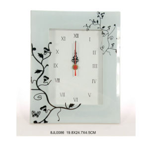 Verre RoHS Horloge murale avec fleur imprimé