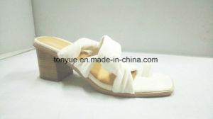 Chaussures femmes Lady PU Chaussures Femmes Chaussures en cuir talon bloc en bois de rivet