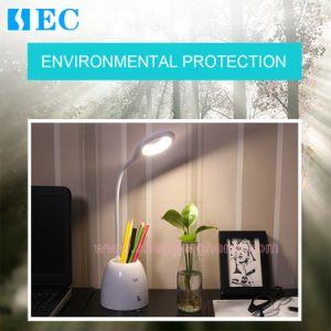 Sec-Td08: Luz de lectura LED USB recargable escritorio moderno toque LED Lámpara de mesa ingenio titular de la pluma de LED Lámparas de escritorio