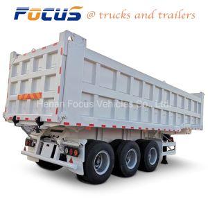 Carga pesada fuerte 60t - 80 toneladas remolque semi volcado para materiales de construcción