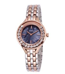 Vastgestelde Horloge van het Roestvrij staal van de Juwelen van de Diamant van de manier het Gelukkige Roterende (wy-157)