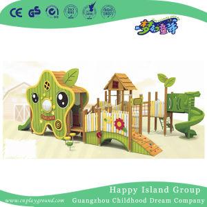 Combinação de madeira e aço inoxidável parque infantil para as crianças a jogarem (HJ-15505)