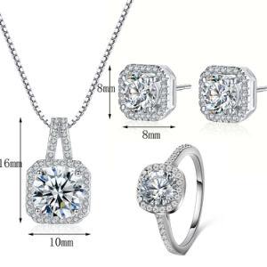 De hete Juwelen van de Manier van het Huwelijk van de Vrouwen van de Ring van de Oorringen van de Halsband van CZ van de Verkoop Zilveren Vastgestelde