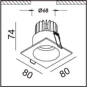 鋳造アルミ80*80mm正方形LEDはクリー族または市民チップとつく
