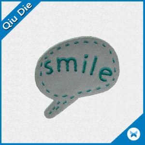 De tela personalizada etiqueta tejida con el logotipo de sonrisa