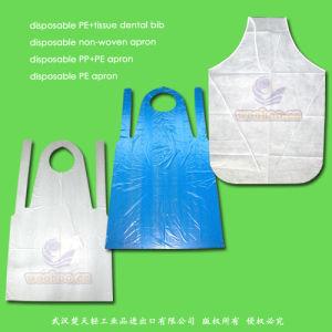 防水Nonwoven/PP+PE/Plastic/Polyethylene/Poly/HDPE/LDPE/PP/PVCの使い捨て可能なPEのエプロン、使い捨て可能なPE+Tissueのペーパー歯科胸当て