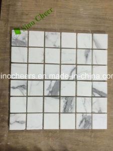 La naturaleza mosaico de piedra de mármol Calacatta italianos importados mosaico hexagonal blanco