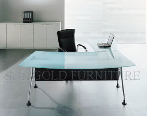 Mobilier de bureau moderne bureau en verre avec pied de la