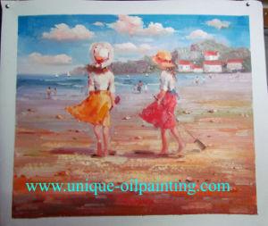Het met de hand gemaakte Olieverfschilderij van Chindlern van het Impressionisme op Strand
