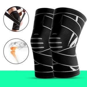 Deportes de nylon de la banda de tejido de punto elástico doble compresión Rodilleras