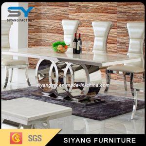 Home conjunto de móveis cadeira e mesa de jantar em mármore de mesa