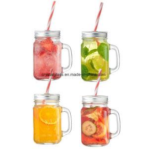 Vaso di vetro della bevanda del muratore della maniglia del campione libero 350ml con stampa di marchio