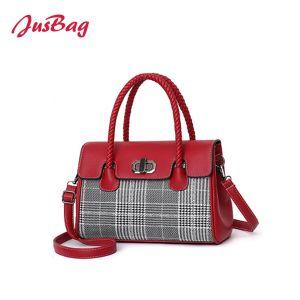 2018 Senhoras Poliéster Couro PU Controlos Bag-Red Boston