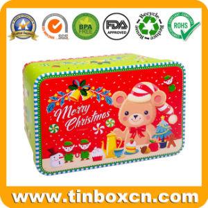 Caixa de metal retangular de estanho de Natal para promoção de Natal