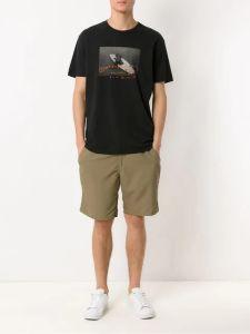 Durante el verano, los hombres Camiseta negra de algodón impresos