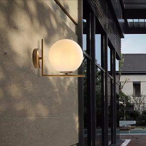 Moderno Hotel simple bola de cristal Opal decorativas Lampara de pared