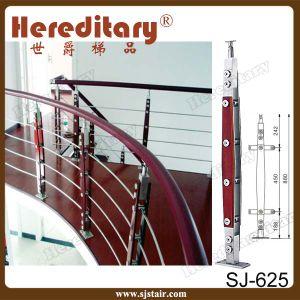 Het satijn beëindigt de Leuning van het Roestvrij staal van het Traliewerk van de Kabel van het Terras (sj-H1027)