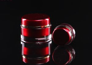 赤いアクリルの皮の表面クリームの瓶(PPC-ACJ-007)を包む贅沢な化粧品