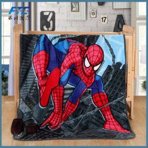 かわいい子供の柔らかく総括的な漫画のスパイダーマンの暖かいソファーは毛布をからかう
