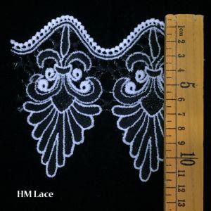 의복 꿰매는 직물 상아빛 크림 까만 손질 면 코바늘로 뜨는 레이스 직물 리본 Handmade 부속품 기술