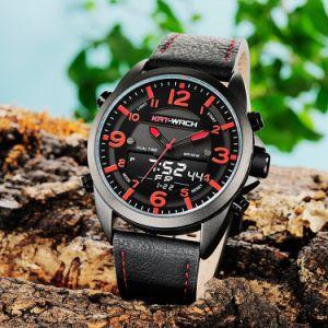 Uhr-Quarz-Digital-Form-Uhr-Großverkauf-Sport-Uhr-Doppelzeit-Chronograph-Qualitätswasserdichte Uhr-Plastikuhr