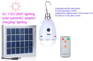 5 Clase de iluminación LED de batería de Energía Solar de la luz de lámpara de luz con mando a distancia