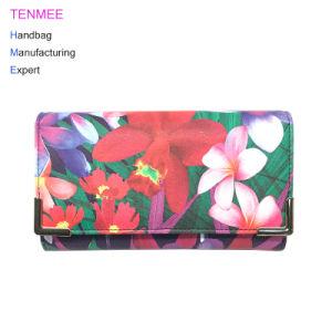 Lcq-0127 de Fabrikant van China Dame Bag OEM/ODM paste de Bloemen die van de Beurs van de Manier de Lange Portefeuilles van de Portefeuille van Vrouwen voor Gift afdrukken aan