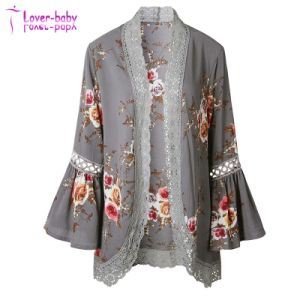 Estampados florales Puff suelta Manga Kimono Lace Cardigan Patchwork encubrir blusa