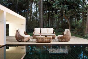ポリエステル柳細工の屋外のソファーの家具