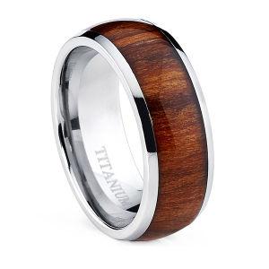 De Ring van het Titanium van de Koepel van mensen met Echte Santos Wood Inlay Ring
