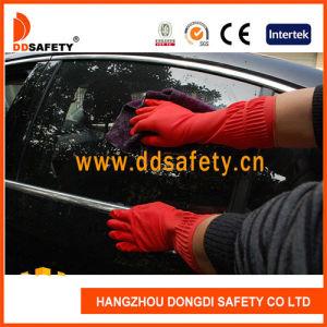 Handschoenen van het Latex van het Huishouden van het Manchet van Ddsafety de Lange Rode met Troep Gevoerd Ce 2121