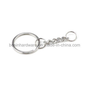 チェーンおよび小さいリングが付いているステンレス鋼の分割されたリング
