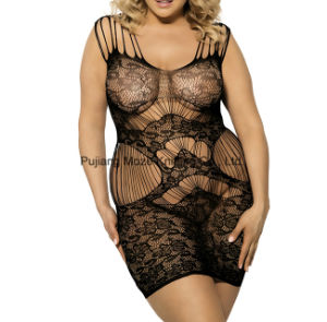 Plus Size femme Sexy Fishnet Baby Doll