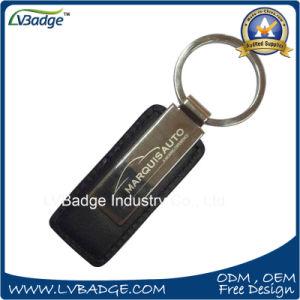 차 로고 금속 격판덮개를 가진 주문 금속 가죽 Keychain