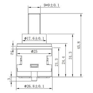 25mmのダイバーターの2つの機能(スイッチ)の陶磁器のバルブ・コア(YLD25-08)