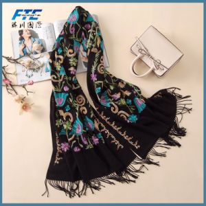 El Cashmere pañuelos Vintage bordado Bufanda de Invierno de la mujer de tamaño largo Mantones