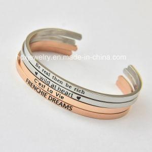 Gegraveerde Armbanden van het Roestvrij staal van de Juwelen van de manier de Hand Gestempelde In het groot Douane