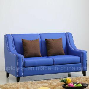 Venda por grosso belo azul royal sofá com Banco Duplo e PU couro para restaurante (SP-KS350)