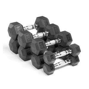 Venda a quente Pesos Ginásio Fitness Equipment Crossfit Haltere Sextavado revestido de borracha