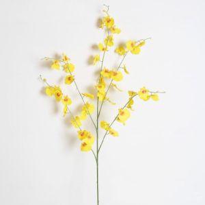 人工絹青か紫色か白くまたは黄色または緑または白い花のダンスの蘭の花