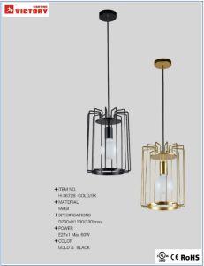 2019 modernes, simples feux d'or Decotative pendentif en métal avec Ampoule de LED