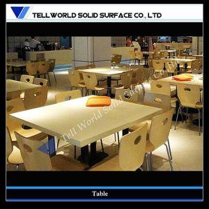 Superficie sólida de acrílico blanco mate mesa de comedor restaurante tienda de alimentos de la cadena Kentucky Fried Chicken juego de mesa de comedor