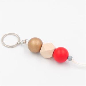 Nappa multicolore di legno scura rotonda di Keychain Brown del monogramma di legno all'ingrosso per la catena chiave dell'anello del sacchetto per le donne degli uomini